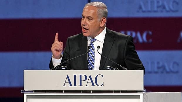 Israel Prime Minister Benjamin Netanyahu speaks at the American Israel Public Affairs Committee meeting in Washington, D.C., on Monday.