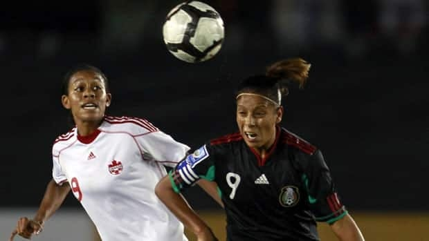 Mexico's Maribel Dominguez, right, made her national team debut in 1998.