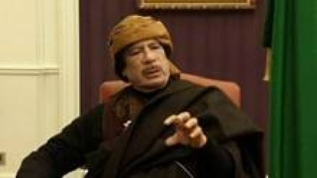 Libyan leader Moammar Gadhafi is seen during an interview with Turkish television channel TRT in Tripoli on Tuesday.