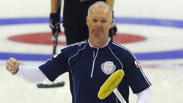 Skip Glenn Howard, shown here on Friday, defeated Winnipeg's Jeff Stoughton 9-5 on Saturday to advance to the men's final at the Canada Cup of Curling.