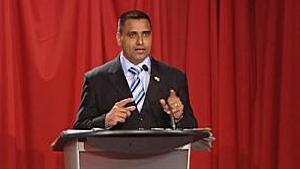 Parm Gill at a recent all-candidates meeting in the Ontario riding of Brampton-Springdale.
