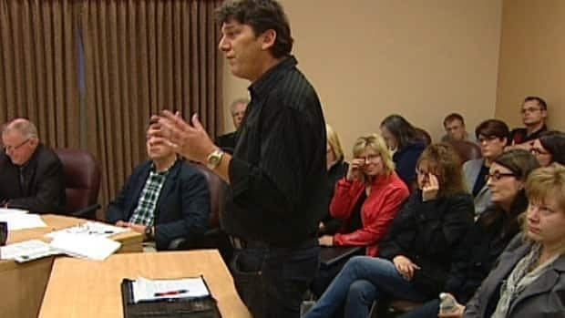 Parent Luke Fevin tries persuading the Sturgeon School Board north of Edmonton Wednesday that schools should not be reciting the Lord's Prayer each morning.