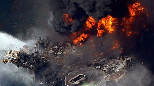 This aerial photo taken in the Gulf of Mexico more than 50 miles southeast of Venice, La., on April 21, 2010, shows the Deepwater Horizon oil rig burning after a deadly blowout of BP's oil well the previous day.