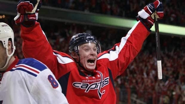Alexander Semin celebrates his Game 1 winner in overtime for the Washington Capitals.