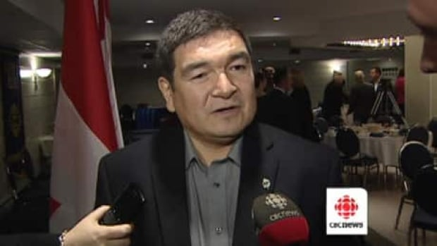 Federal cabinet minister Peter Penashue speaking with reporters in St. John's on Tuesday.