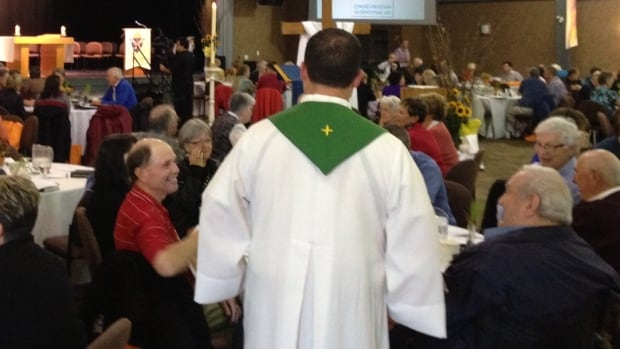 People gather at a conference in Membertou to discuss a five year pastoral plan for the Diocese of Antigonish.