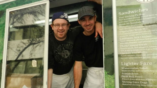 Brendan Orr and Kevin Hoban of On A Roll food truck will stay open this winter.