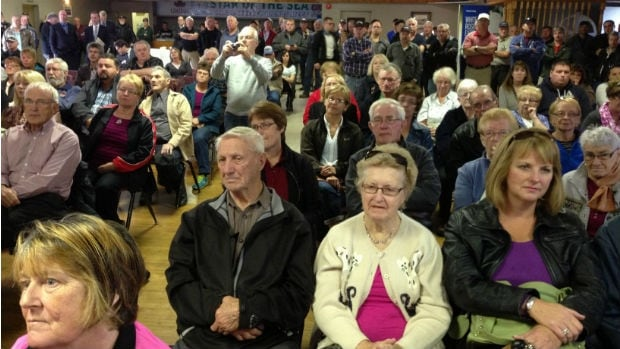 A large crowd is seen at the Star Hall in Placentia in October 2013 for an announcement about the White Rose extension.