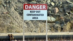 Giant Mine contaminated area sign