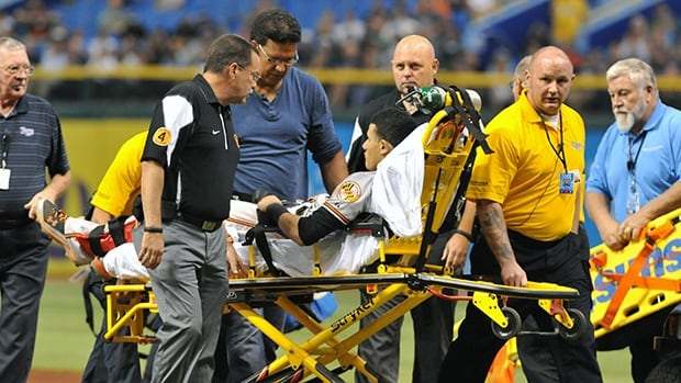 Manny Machado tore his medial patellofemoral ligament on Sept. 23.