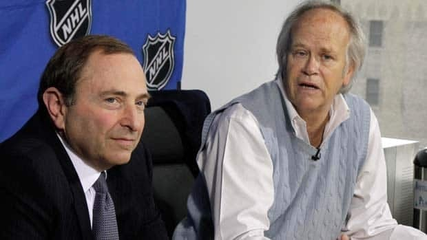 NHL commissioner Gary Bettman, left, and NBC Sports chairman Dick Ebersol announce a new broadcast deal at a Tuesday news conference.