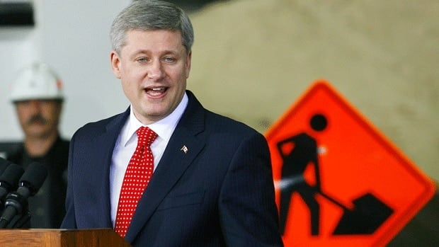 Prime Minister Stephen Harper announcing federal infrastructure money for a ring road in Calgary on May 22, 2009. The Conservatives need to spend more on fixing the country's dilapidated infrastructure, writes Don Pittis.