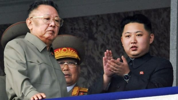 Kim Jong-un, right, along with his father and North Korea leader Kim Jong-il, left, attend a massive military parade marking the 65th anniversary of the ruling Workers Party in Pyongyang, North Korea, in October 2010.