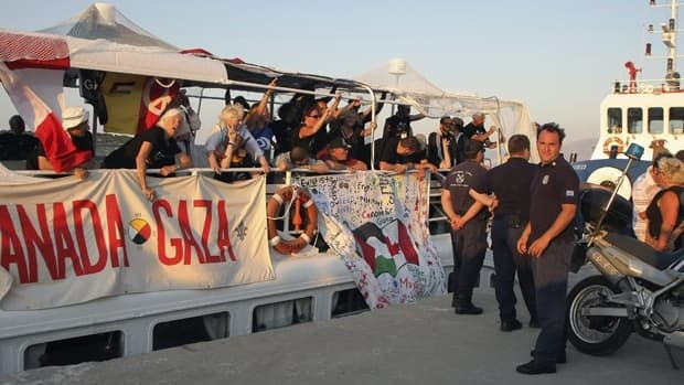 Greece cited safety concerns when stopping the flotilla vessels bound for the blockaded Gaza strip, but organizers say it was pressure from Israel.