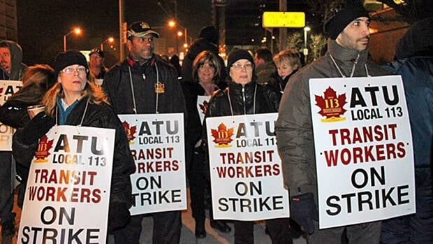 About 200 striking York Region Transit workers set up pickets at Finch subway station in Toronto last week.