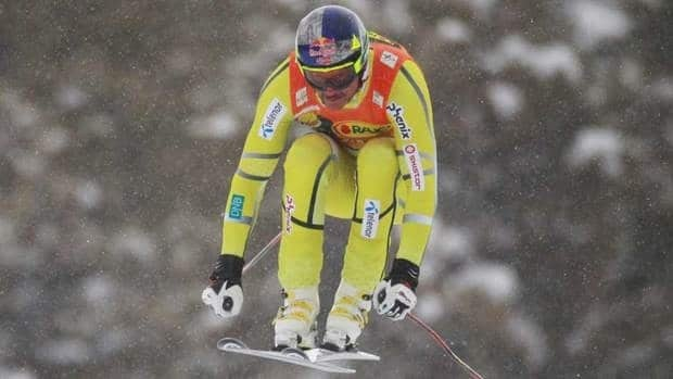Norway's Aksel Lund Svindal clears a jump en route to winning the World Cup men's super-G race at Lake Louise.