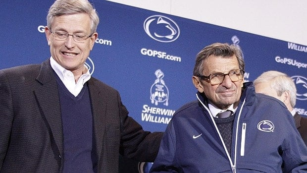Legendary Penn State head coach Joe Paterno, right, is not implicated in the case.