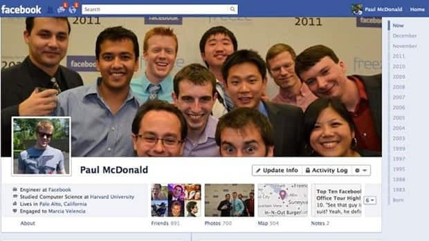 Facebook Timeline, shown here in an example posted on the Facebook blog, emphasizes important life events throughout users' lives rather than their most recent activity.