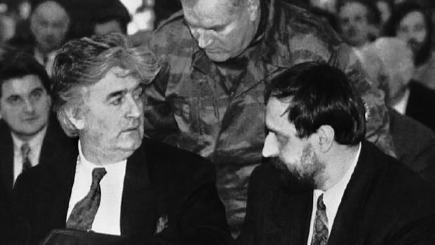 Former leader of the Bosnian Serbs Radovan Karadzic, left, former commander in chief of Bosnia Serbian army Col. General Ratko Mladic, centre, and Goran Hadzic, then president of the Serbian Krajina Republic in Croatia shown in this 1993 file photo.