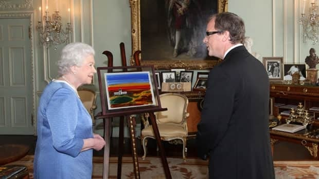 In an image released Friday by Premier Brad Wall's office, he presents to the Queen a stained-glass artwork showing the Saskatchewan Legislative Building. It came from a Regina studio run by Debbie Wells, the artist on the piece, and her sister Janice Stefan.