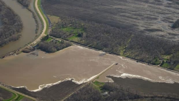 Diverted water from the Hoop and Holler Bend dike breach fills a farm field in May.