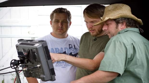 Marc Almon, founder of Opolo Pictures, centre, at work on the short film, The Fiddler's Reel, in 2010.