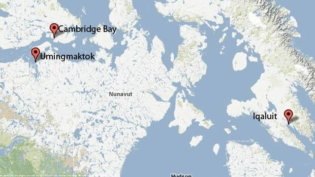 Umingmaktok, Nunavut, is about 250 kilometres from Cambridge Bay, Nunavut.
