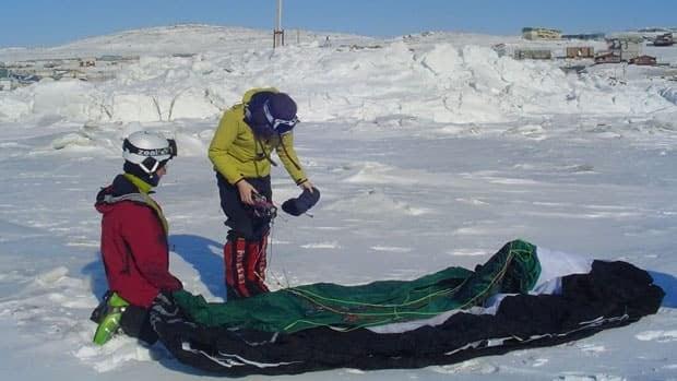 Eric, left, and Sarah McNair-Landry adjust their kites near Iqaluit in March, before embarking on a 3,000-kilometre kite-ski trek through the Northwest Passage from Tuktoyaktuk, N.W.T., to Pond Inlet, Nunavut.