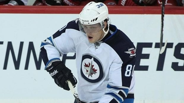 Nik Antropov of the Winnipeg Jets skates on the ice in a game against the Carolina Hurricanes in pre-season NHL action at the MTS Centre on Sept. 28, 2011 in Winnipeg.