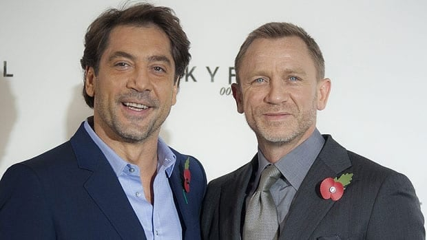 Javier Bardem, left, and Daniel Craig appear in London Thursday to announce details of the 23rd James Bond film.