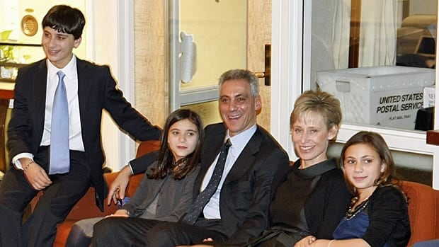 Former White House chief of staff Rahm Emanuel, third from left, watches Chicago mayoral election returns with his son Zach, left, daughter Leah, his wife Amy Rule and daughter Ilana on Tuesday.