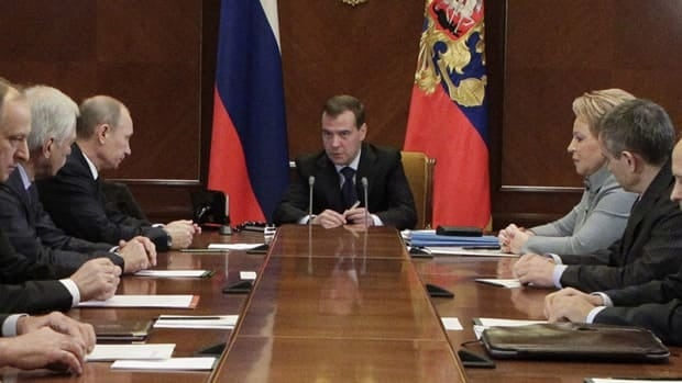 Russian President Dmitry Medvedev, centre, chairs a security meeting in the Gorki residence outside Moscow on Nov. 23, 2011. Russia considers the plans for missile shields in Europe to be a threat to its nuclear forces.