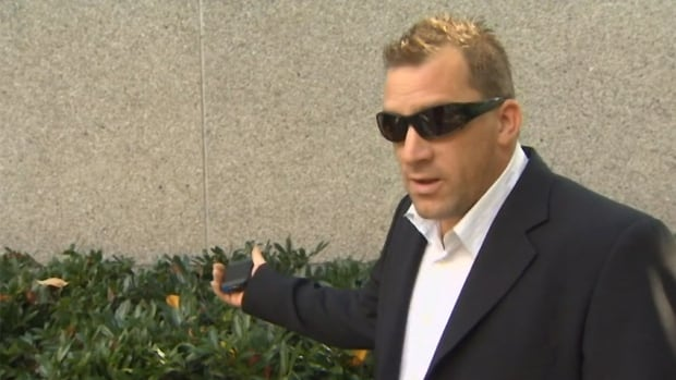 Cory Sater, seen outside the courthouse in New Westminster, has pleaded not guilty to 10 charges against him, which include dangerous driving causing death, impaired driving causing death and failure to stay at the scene.