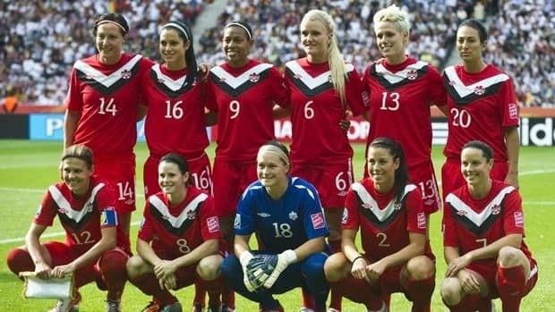 Canada's women's football team poses prior to a match during the FIFA women's football World Cup.
