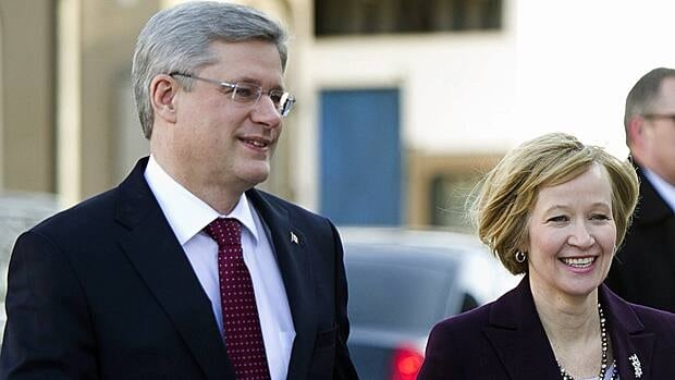 Stephen Harper arrives with wife Laureen to Rideau Hall in Ottawa on Saturday to meet with Gov. Gen. David Johnston to formally dissolve Parliament and launch an election campaign.