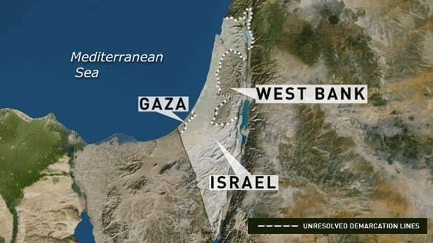 A map showing the unresolved demarcation lines of Israel and the Palestinian territories. (CBC)