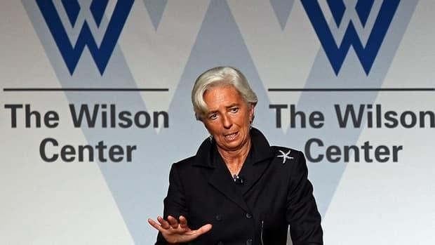 IMF Director Christine Lagarde talks of the challenges facing the global economic recovery at the Woodrow Wilson Center in Washington, D.C. Thursday.