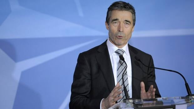 NATO Secretary General Anders Fogh Rasmussen addresses a news conference at the alliance headquarters in Brussels on Thursday.