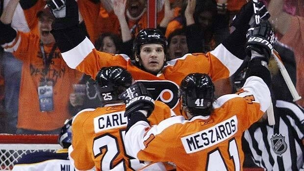 Daniel Carcillo of Philadelphia celebrates a Flyers goal during Game 2 action against the Buffalo Sabres.