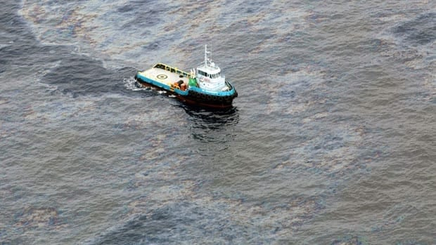 An oil spill in an offshore field operated by Chevron at the Bacia de Campos, in Rio de Janeiro state, Brazil, shown Friday, may result in a nearly $28 million US fine for the firm.