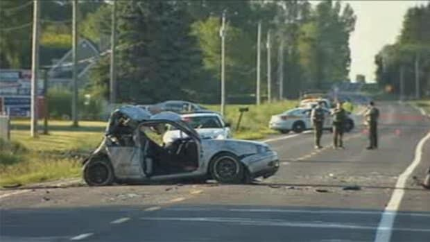 Three young men were killed when a pickup truck slammed into their parked car early Sunday morning in St-Edmond-de-Grantham.