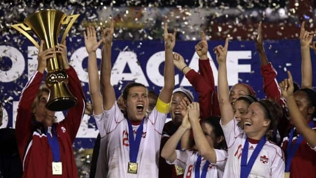 Canadian players celebrate after beating Mexico in the final of last year's CONCACAF Womens championship.