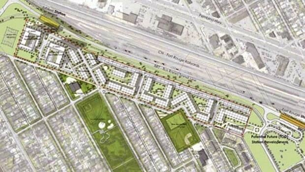 The Fort Rouge Rail Yards project is a 900-unit housing complex, mixing condos and townhouses, slated for a 16-acre parcel of land in the Lord Roberts neighbourhood.