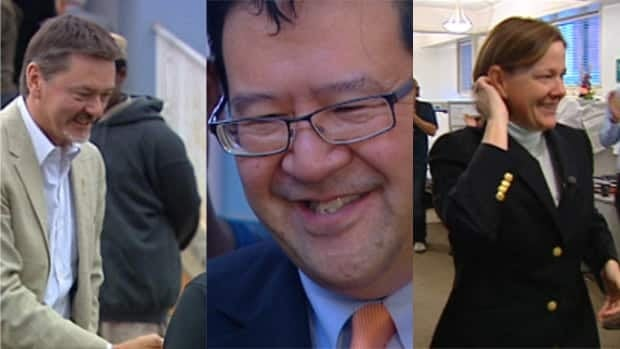Doug Horner (left), Gary Mar and Alison Redford are vying to become Alberta's next premier.