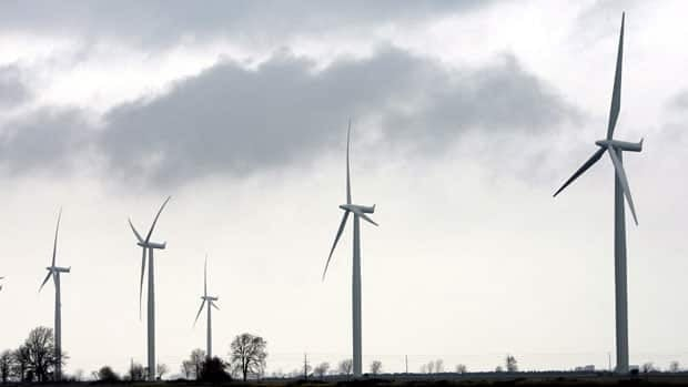 Wind turbines are shown at the opening of a 44-turbine wind farm near Port Alma, Ontario in November 2008. There are 900 wind turbines in the province.