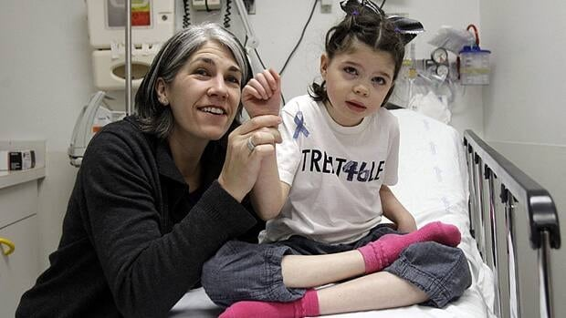 Cassidy Hempel, 6, waves at hospital staff with the help of her mother Chris at the Children's Hospital and Research Center in Oakland, Calif., March 18, 2011. Cassidy and twin sister Addison are receiving alternative treatment for Niemann-Pick Type C disease, a rare disorder where harmful amounts of cholesterol accumulates in vital organs.