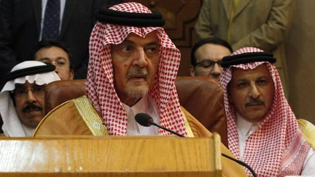 Saudi Arabian Foreign Minister Prince Saud al-Faisal attends Sunday's emergency Arab League meeting in Cairo. A source said he pushed to suspend Syria from the organization and to recognize an opposition coalition as the country's legitimate authority.