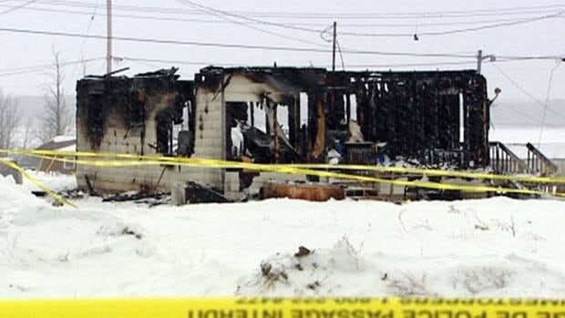 A house on God's Lake Narrows First Nation was reduced to rubble after a fire Monday. Three people, including two children, were killed.