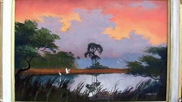 A photo of one of 80 pieces by The Highwaymen shows the Florida collective's colourful depictions of 1950s landscapes. The owner of the works, an Ottawa man, has been invited to a luncheon in Washington with U.S. First Lady Michelle Obama.