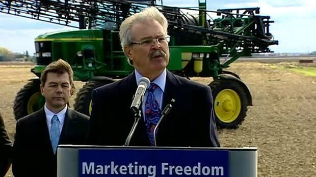 """Agriculture Minister Gerry Ritz speaks to reporters on October 18, at a news conference to mark the tabling of C-18, the """"Marketing Freedom for Grain Farmers Act."""""""